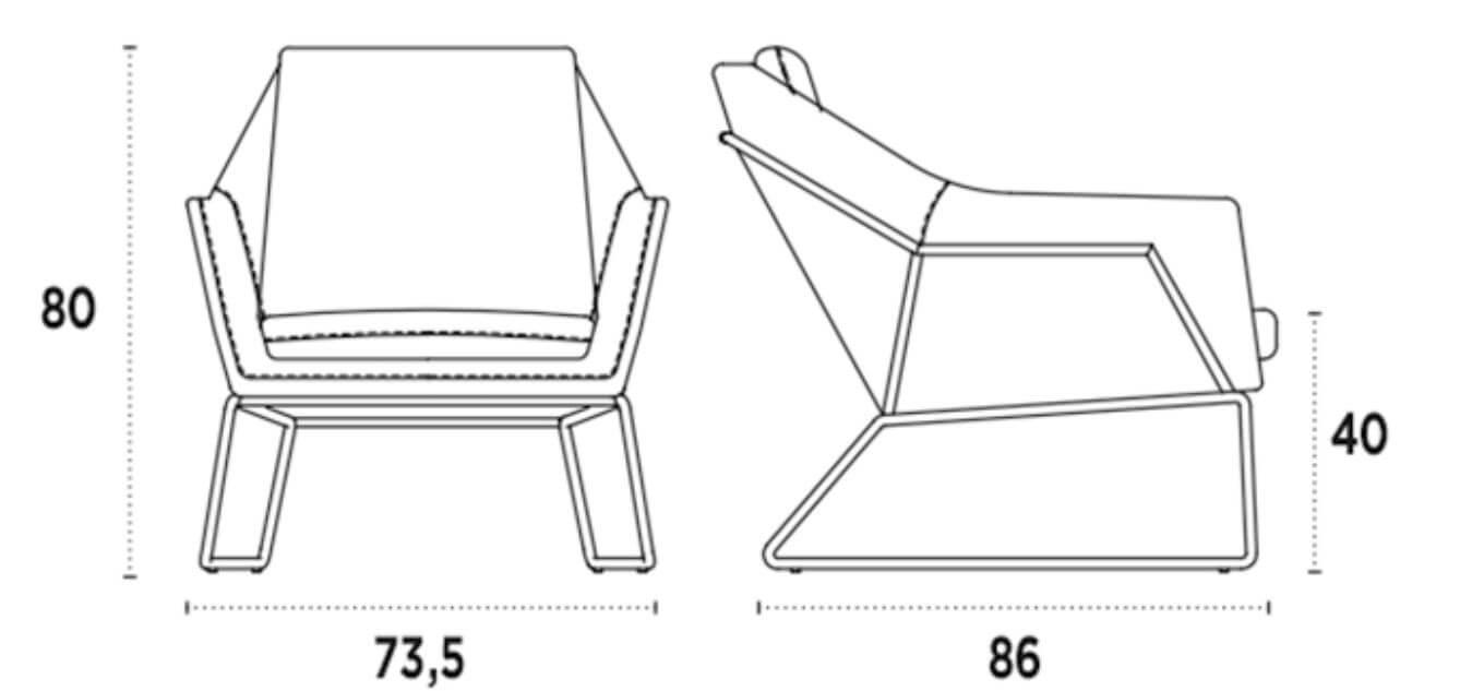 medida silla lounge tulip nacher