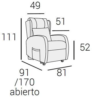 Medidas sillon relax osorio O'luxen